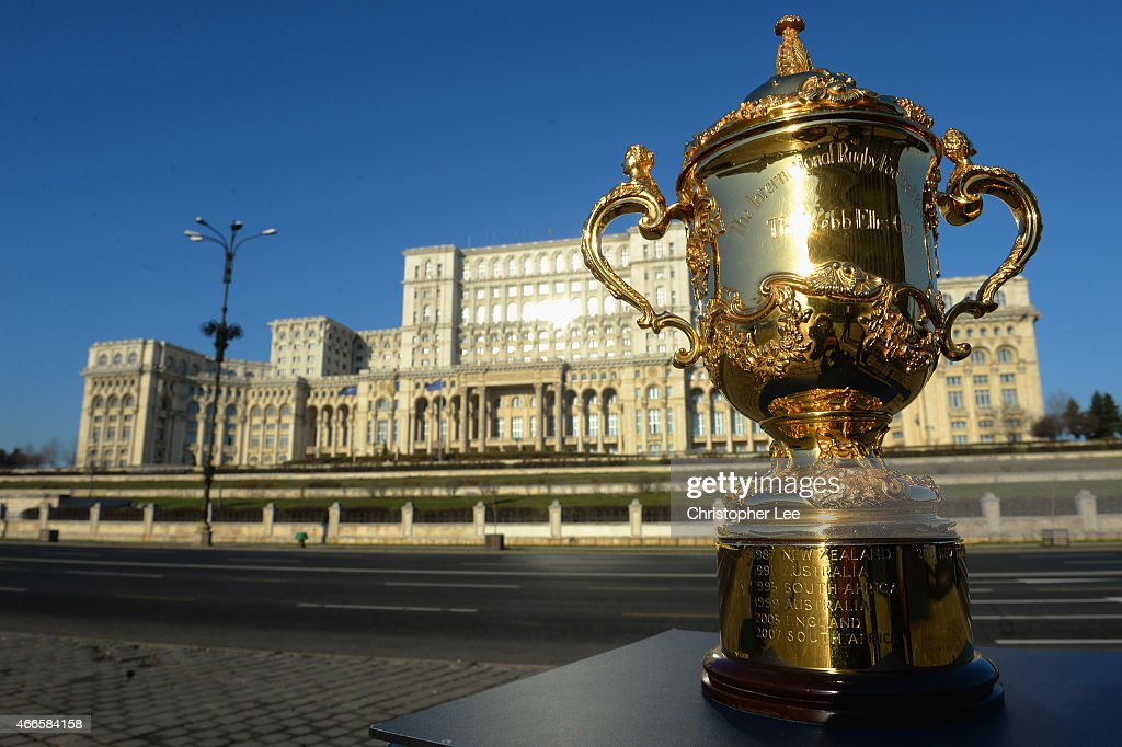 The Webb Ellis trophy is on display at the Romanian Parliament building after it arrives in Bucharest during the Rugby World Cup Trophy Tour in partnership with Land Rover and DHL ahead of Rugby World Cup 2015 on March 17, 2015 in Bucharest, Romania.