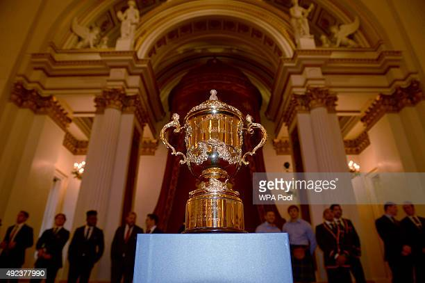 The Webb Ellis trophy on display during a Rugby World Cup reception at Buckingham Palace on October 12 2015 in London United Kingdom