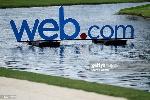 The Webcom logo is displayed during the second round of the Webcom Tour Championship held on the Dye's Valley Course at TPC Sawgrass on September 27...