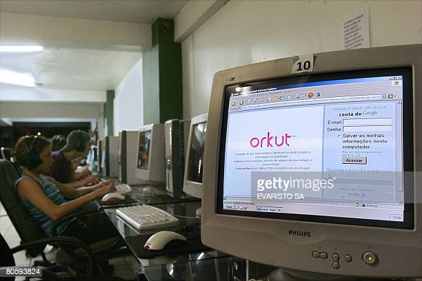 The website Orkut from Google is displayed on a screen in a cybercafe in Brasilia on April 09 2008 A Brazilian Senate panel ordered Google on...