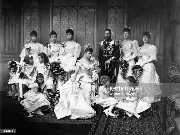 The wedding at Buckingham Palace of the Duke of York later King George V and Princess Mary of Teck From left to right Princess Alexandra of Edinburgh...