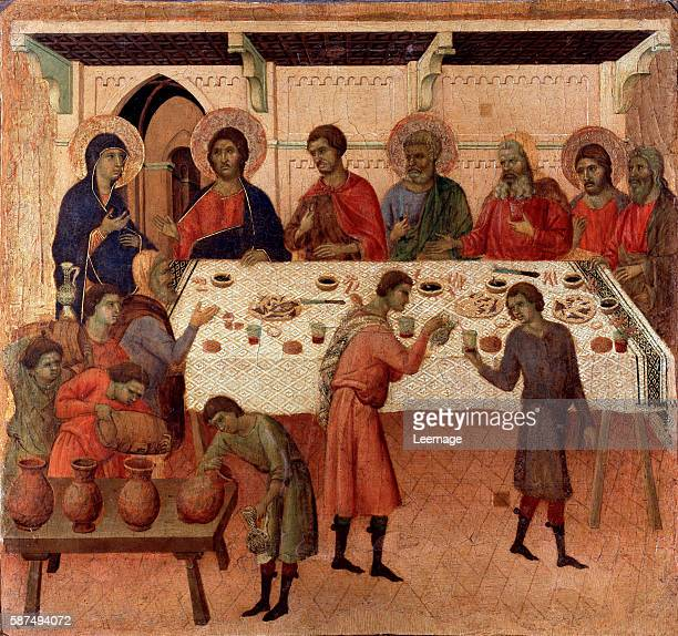 The wedding at Cana Verso of the altarpiece La Maesta Painting by Duccio di Buoninsegna 13081311 Dim 43x455 cm Tempera on panel Museo dell'Opera del...