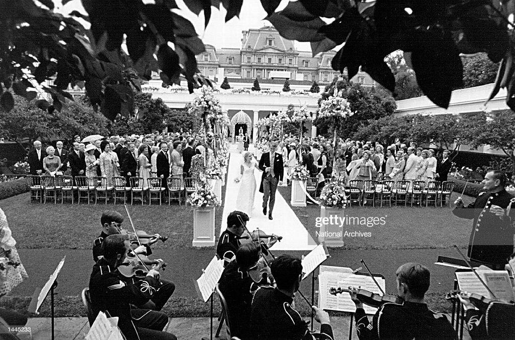 The wedding ceremony of Tricia Nixon and Edward Cox June 12, 1971 at the White House.