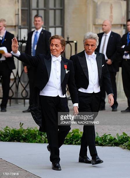 The wedding dress designer Valentino Garavani arrives on June 8 2013 to Princess Madeleine of Sweden and Christopher O'Neill 's wedding ceremony at...