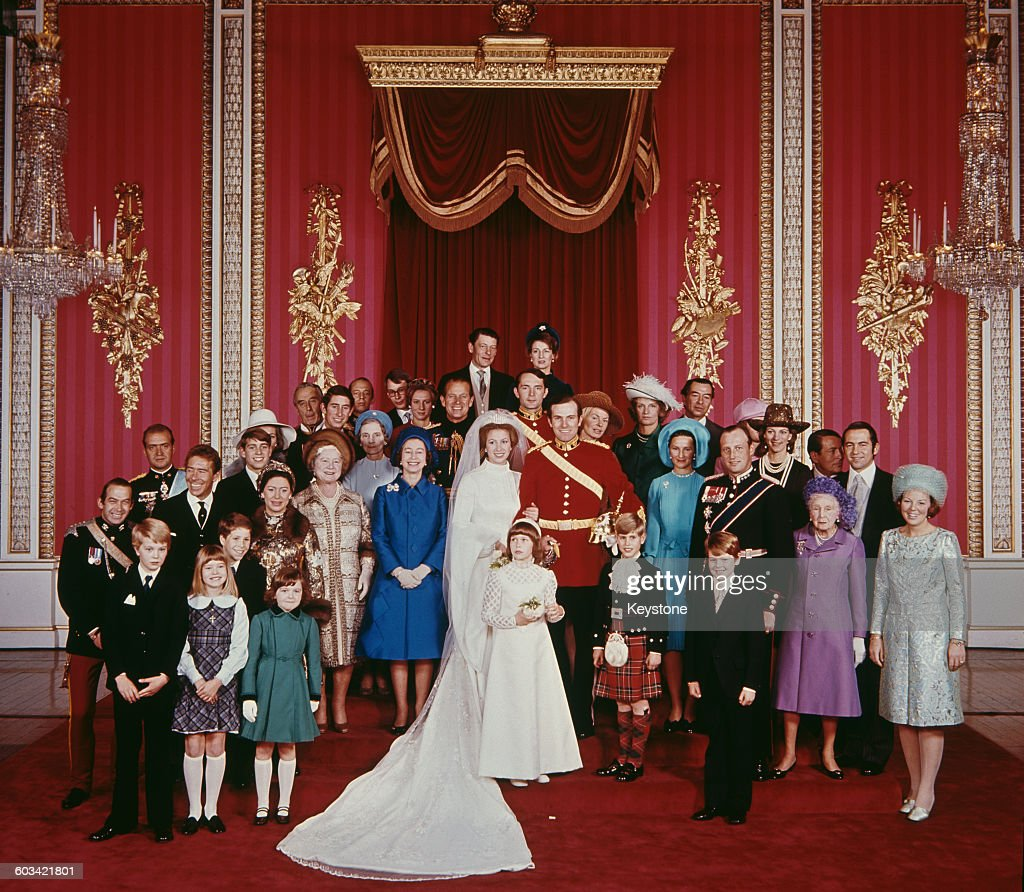 The wedding of Anne Princess Royal to Mark Phillips London UK 14th November 1973 Also pictured are Queen Elizabeth II the Queen Mother Princess...