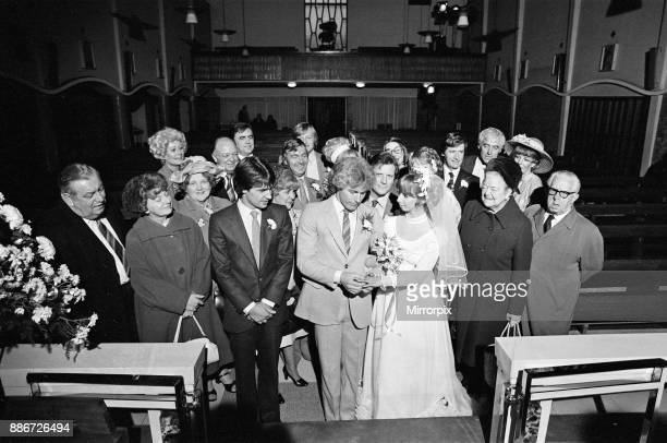 The wedding of Coronation Street's Brian Tilsley and Gail Potter The couple played by Helen Worth and Christopher Quinten are pictured with best men...