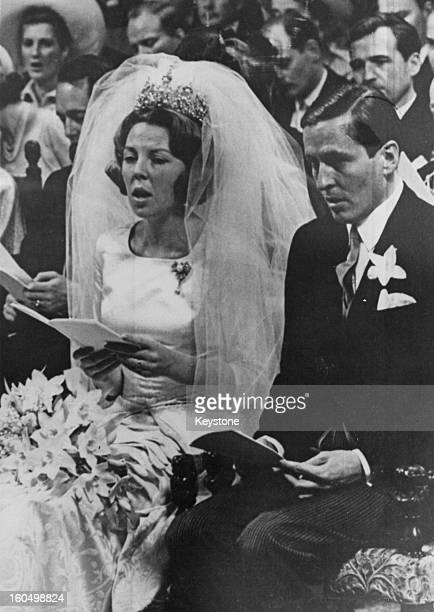 The wedding of Crown Princess Beatrix of the Netherlands to Claus von Amsberg in the Westerkerk in Amsterdam Holland 10th March 1966
