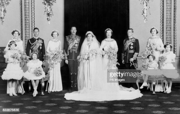 The wedding of Prince Henry Duke of Gloucester to Lady Alice Christabel MontaguDouglasScott at the private chapel at Buckingham Palace Left to right...