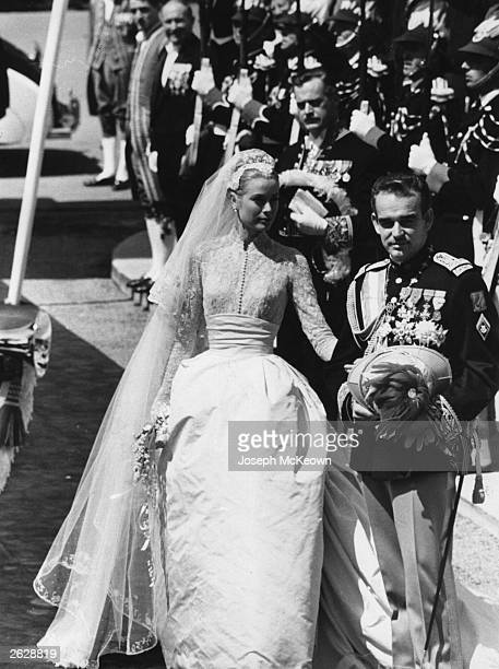 The wedding of Prince Rainier III of Monaco Louis Henri Maxence Bertrand de Grimaldi to American actress Grace Kelly known thereafter as Princess...