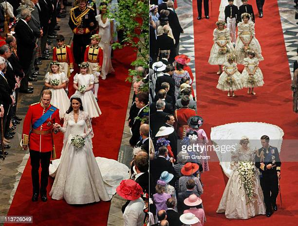 In this composite image a comparison has been made between the Royal Wedding Cathedral aisle walks of Prince Charles Prince of Wales and Lady Diana...