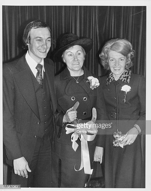 The wedding of woman pilot Elizabeth Overbury and Michael French posing with wedding guest Sheila Scott Chelsea Registry Office London February 3rd...