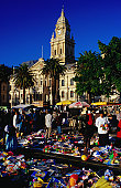 The Wednesday flea market in front of the Town Hall (1905), the building is a mix of Italian Renaissance and British Colonial architecture.