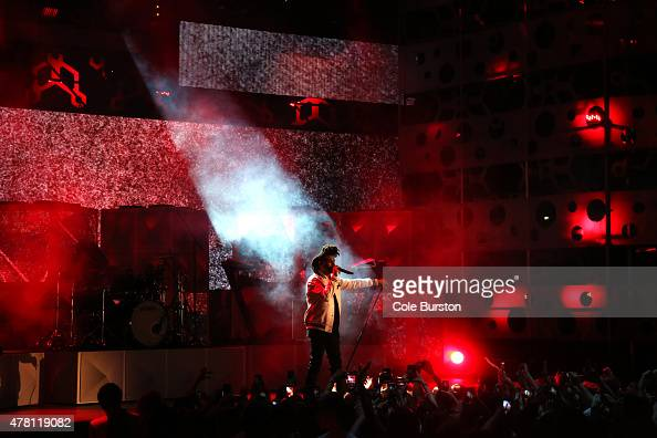 The Weekend performs at the 2015 Much Music Video Awards at MuchMusic on Queen Street West in Toronto June 21 2015