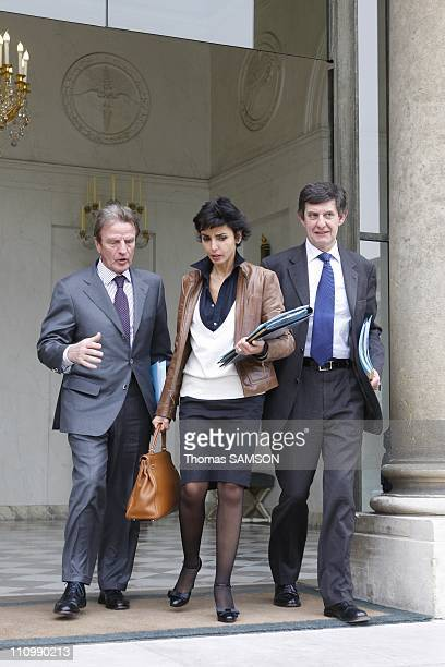 The Weekly Council of ministers at the Elysee Palace in Paris France on April 8th 2008 Bernard Kouchner Foreign Minister Rachida Dati Minister of...
