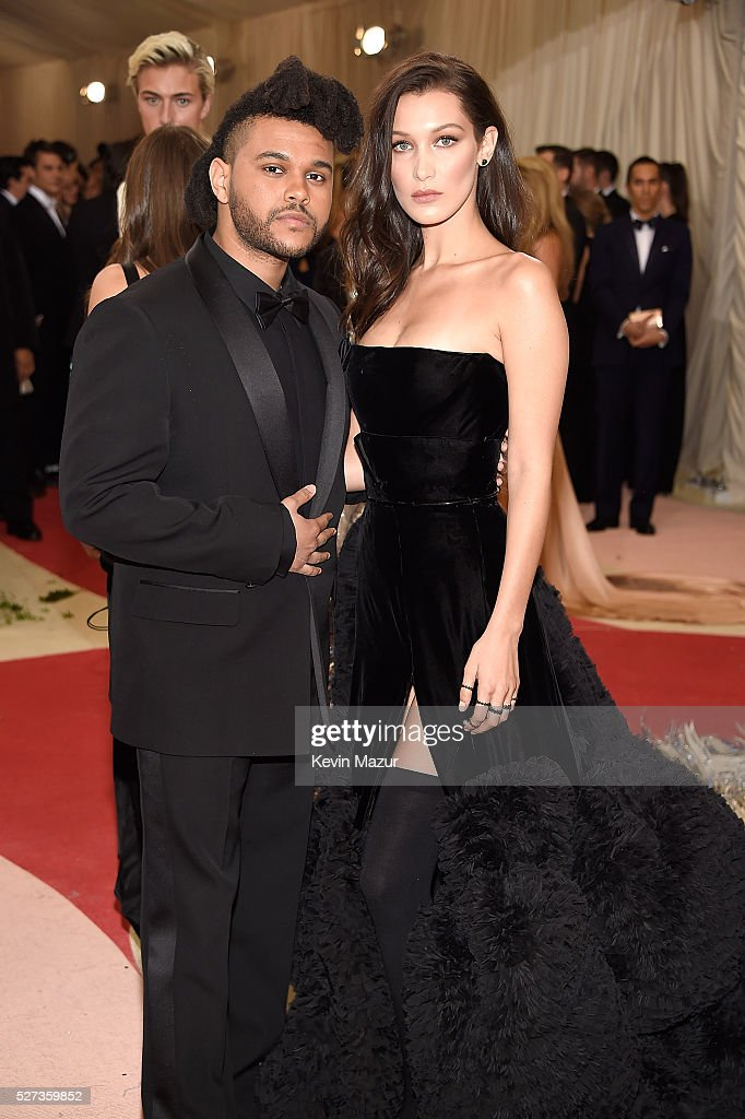 The Weeknd and Bella Hadid attends 'Manus x Machina: Fashion In An Age Of Technology' Costume Institute Gala at Metropolitan Museum of Art on May 2, 2016 in New York City.