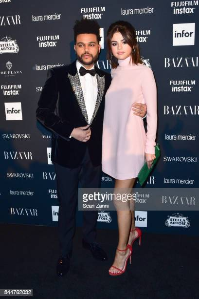 The Weeknd and Selena Gomez attend 2017 Harper's Bazaar Icons at The Plaza Hotel on September 8 2017 in New York City