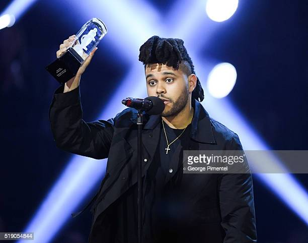 The Weeknd attends the 2016 Juno Awards at Scotiabank Saddledome on April 3 2016 in Calgary Canada