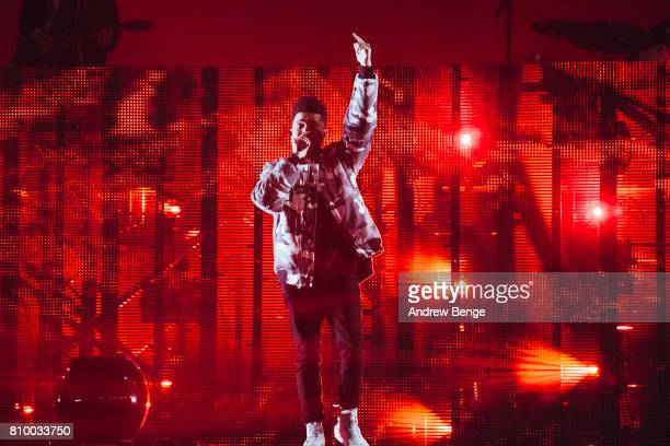 The Weeknd performs during day 1 of NOS Alive on July 6 2017 in Lisbon Portugal
