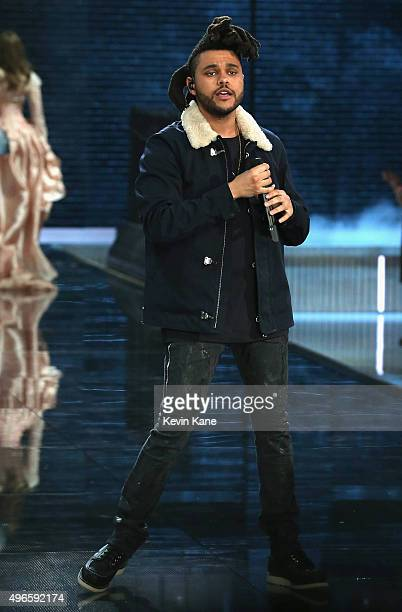 The Weeknd performs during the 2015 Victoria Secret Fashion Show at Lexington Armory on November 10 2015 in New York City