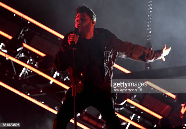 The Weeknd performs during the Voodoo Music Arts Experience at City Park on October 28 2016 in New Orleans Louisiana