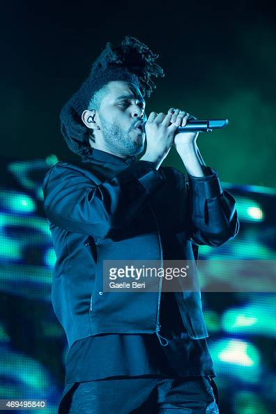 The Weeknd performs on stage at Coachella Festival at The Empire Polo Club on April 11 2015 in Indio United States