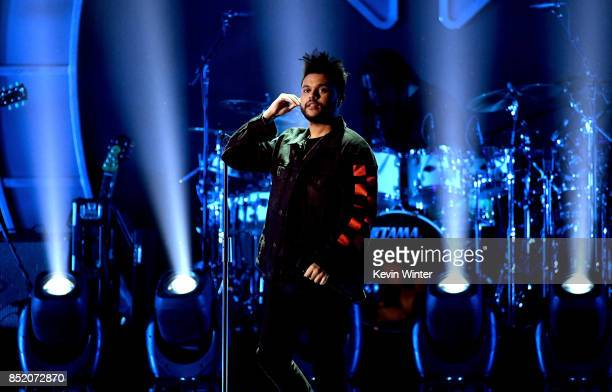 The Weeknd performs onstage during the 2017 iHeartRadio Music Festival at TMobile Arena on September 22 2017 in Las Vegas Nevada