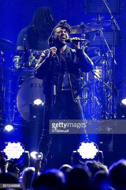 The Weeknd performs onstage during Z100's iHeartRadio Jingle Ball 2015 at Madison Square Garden on December 11 2015 in New York City