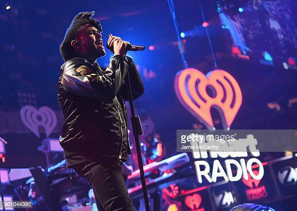 The Weeknd performs onstage during Z100's Jingle Ball 2015 at Madison Square Garden on December 11 2015 in New York City