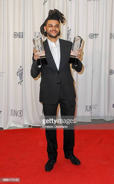 The Weeknd poses backstage in the press room at the 2015 Juno Awards at FirstOntario Centre on March 15 2015 in Hamilton Canada