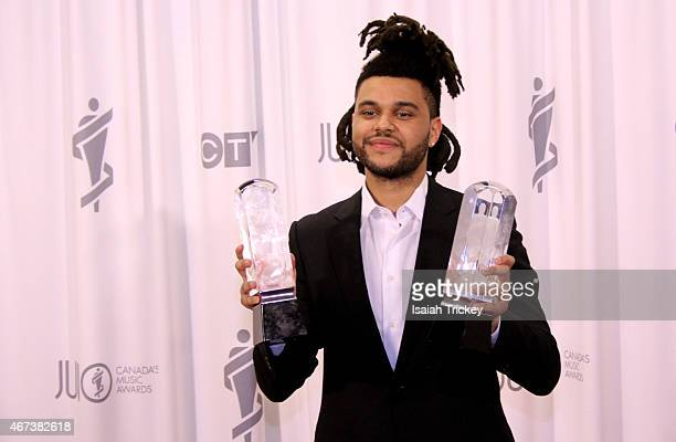The Weeknd poses in the press room at the 2015 JUNO Awards Broadcast at on March 15 2015 in Hamilton Canada