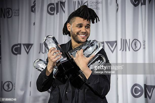 The Weeknd poses in the press room at the 2016 Juno Awards at Scotiabank Saddledome on April 3 2016 in Calgary Canada
