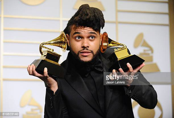 The Weeknd poses in the press room at the The 58th GRAMMY Awards at Staples Center on February 15 2016 in Los Angeles California