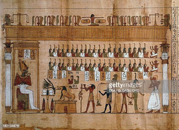 The weighing of souls chapter 125 of the Book of the Dead detail of the papyrus of Tasnakht Egyptian Civilisation Late Period Turin Museo Egizio