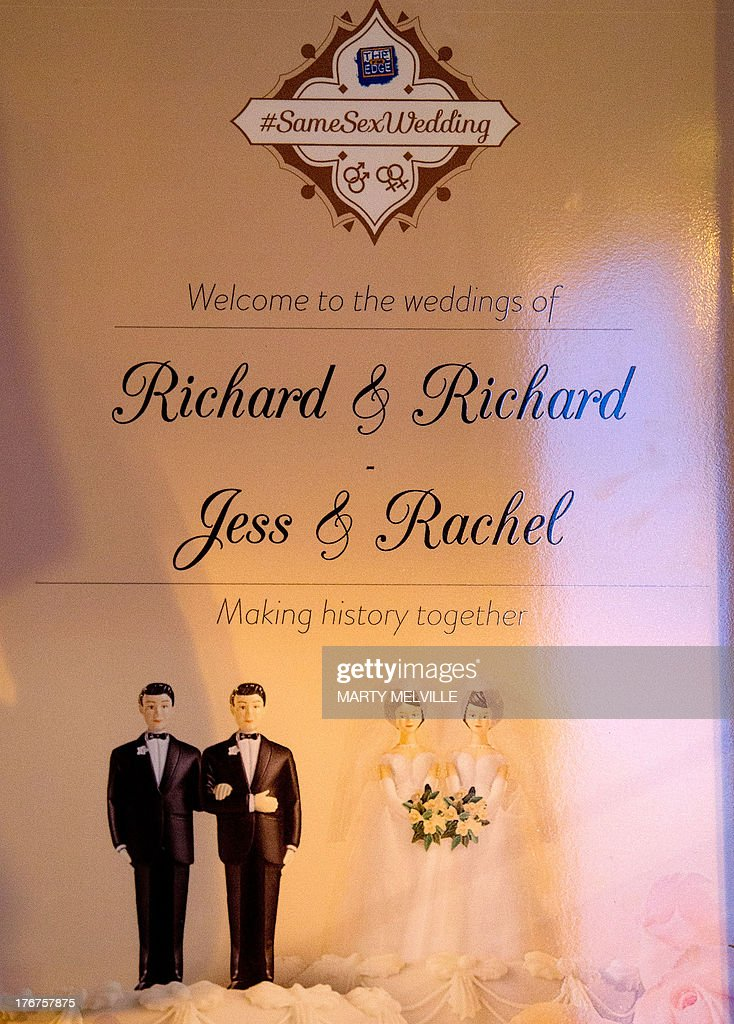 The welcome sign on the front door during the first same sex marriage at the Rotorua Museum in Rotorua on August 19, 2013. More than 30 same-sex couples will say 'I do' on Monday when New Zealand becomes the first Asia-Pacific country and only the 14th in the world to legalise gay marriage. The move has sparked a raft of competitions to set wedding firsts, but unease amongst the religious community.