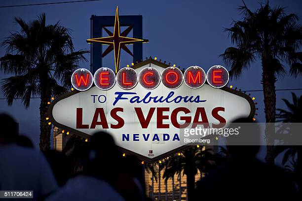 The 'Welcome to Fabulous Las Vegas' sign stands along Las Vegas Boulevard in Las Vegas Nevada US on Saturday Feb 20 2016 The six presidential...