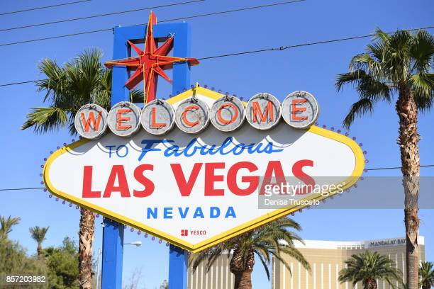 The Welcome to Fabulous Las Vegas sign where a small tribute has been set up for the victims of the Route 91 Harvest country music festival shooting...