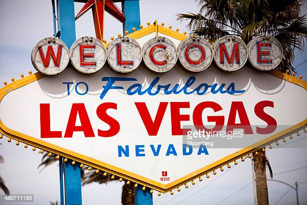 The 'Welcome to Las Vegas' sign stands in Las Vegas Nevada US on Thursday March 20 2014 The average gambling budget of Las Vegas visitors rose 10...
