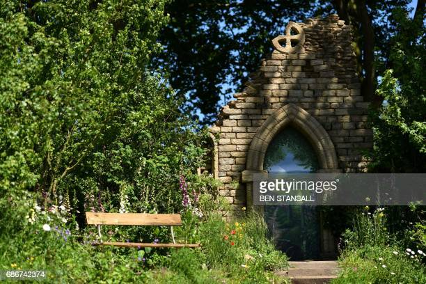 The 'Welcome to the Yorkshire Garden' is seen at the 2017 Chelsea Flower Show in London on May 22 2017 The Chelsea flower show held annually in the...