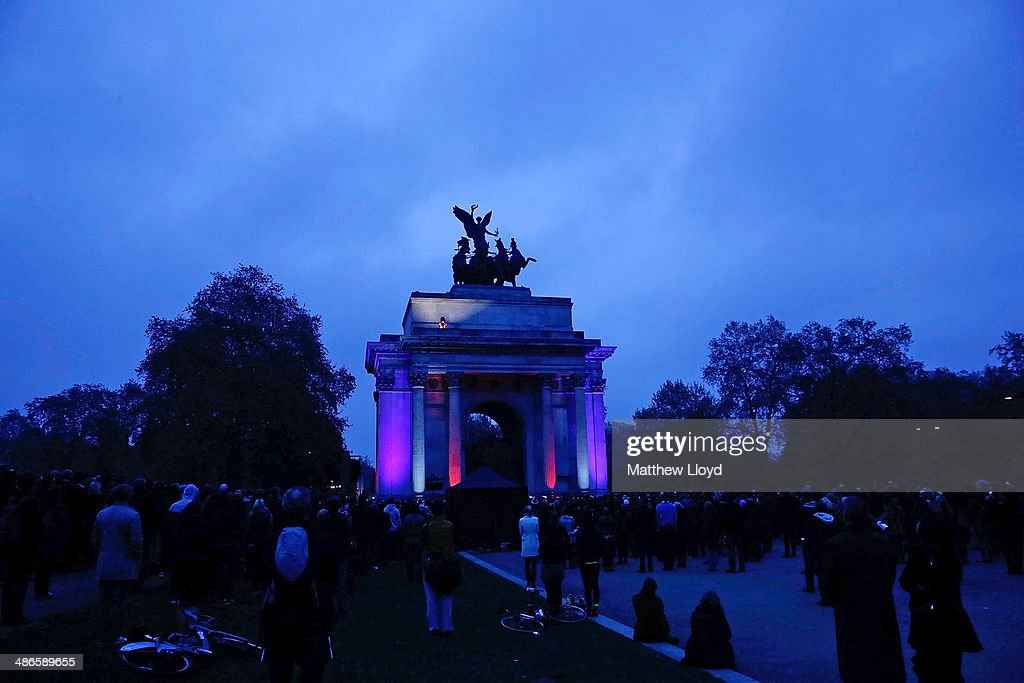 The Wellington Arch is lit up in the Union colours during a dawn remembrance service on ANZAC Day at Hyde Park on April 25, 2014 in London, England. It is the 99th anniversary of the Galipoli landings in which tens of thousands of servicemen died.
