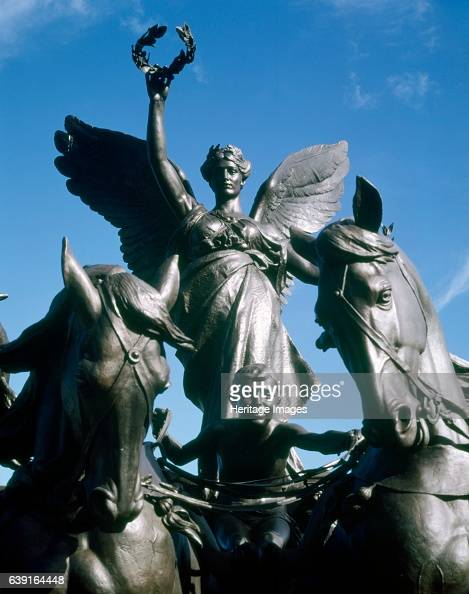 The Wellington Arch London c19902010 View of the quadriga Wellington Arch is a triumphal arch located to the south of Hyde Park in central London...