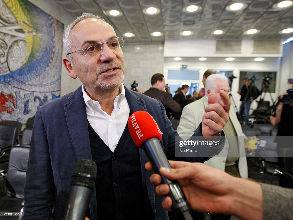 The well-known journalist and anchorman Savik Shuster talks to the media after a press-conference in Kiev,Ukraine,on 29 April,2016.