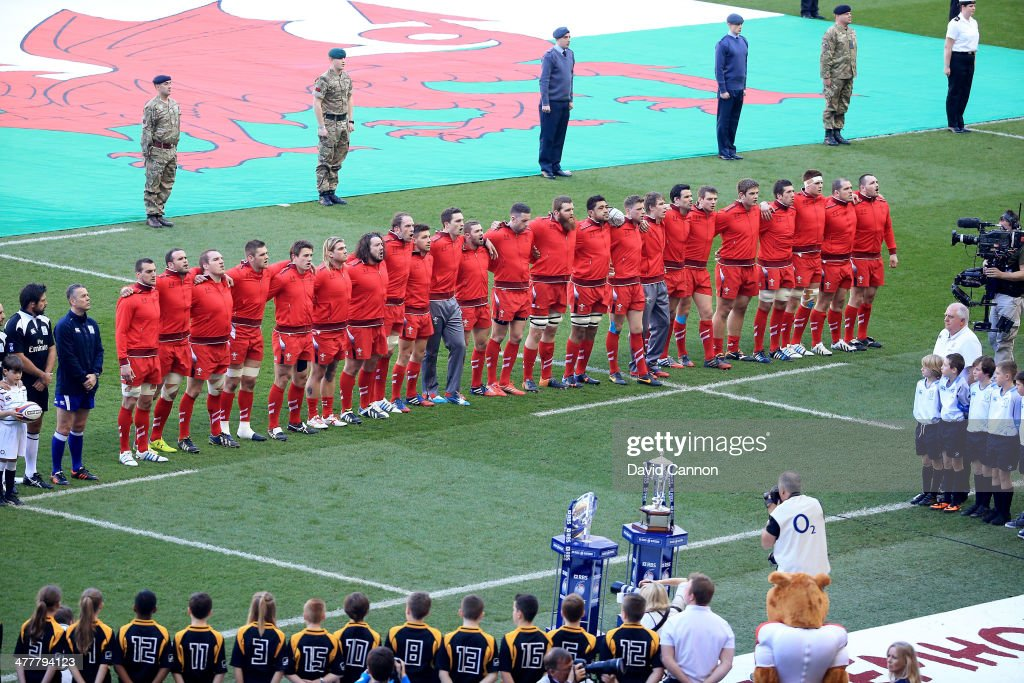 The Welsh team lines up for their National Anthem during the RBS Six Nations match between England and Wales at Twickenham Stadium on March 9, 2014 in London, England.