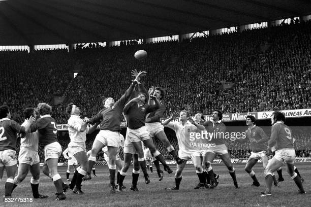 The Welsh trio of Geoff wheel Clive Davis and Ian Stephens outjump England in a lineout while England captain Billy Beaumont and team mate Mike...