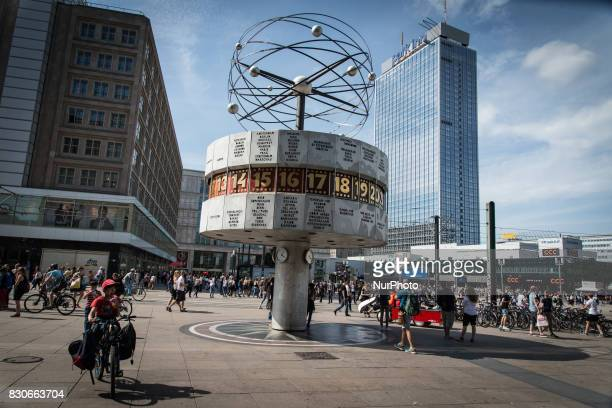 The Weltzeituhr in Berlin Germany on 22 July 2017 The Berlin tourism has reached a new record The Statical Landesamt as reported by the Berliner...