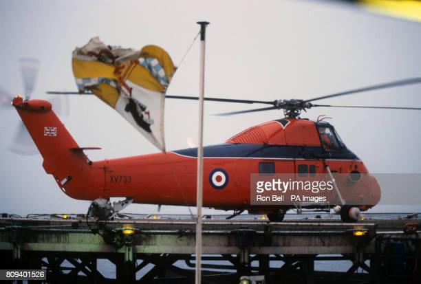 The Wessex helicopter of the Queen's Flight arriving on the BP Forties Bravo platform in the North Sea with the Prince of Wales on board