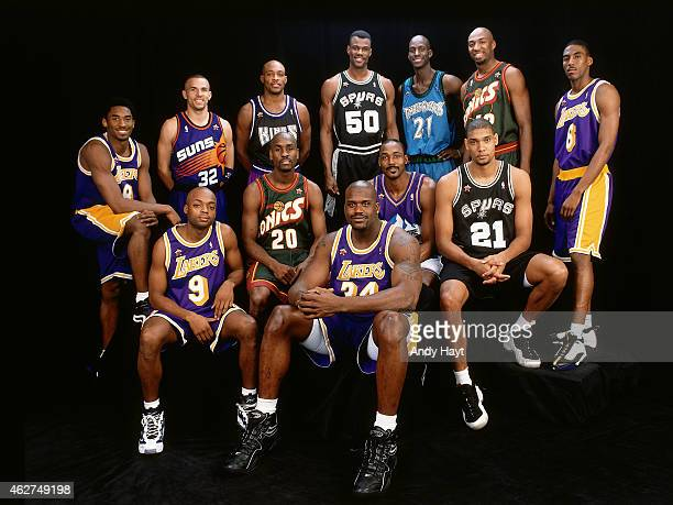 The West AllStars poses for a portrait prior to NBA AllStar Game on February 8 1998 at Madison Square Garden in New York City NOTE TO USER User...