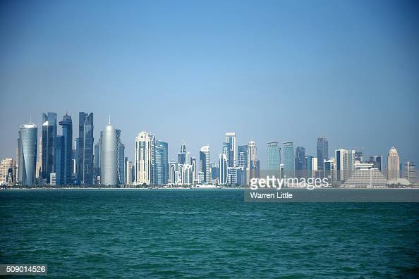 The West Bay skyline of Doha Qatar''s capital city as seen from the Corniche ahead of the 2022 FIFA World Cup Qatar on December 29 2015 in Doha Qatar