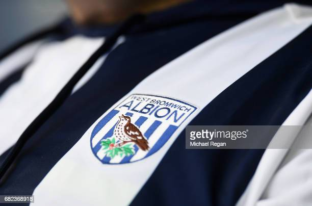 The West Bromwich Albion badge is seen prior to the Premier League match between West Bromwich Albion and Chelsea at The Hawthorns on May 12 2017 in...