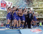 The West Coast Eagles celebrate after winning the AFL Grand Final match between the Sydney Swans and the West Coast Eagles at the Melbourne Cricket...