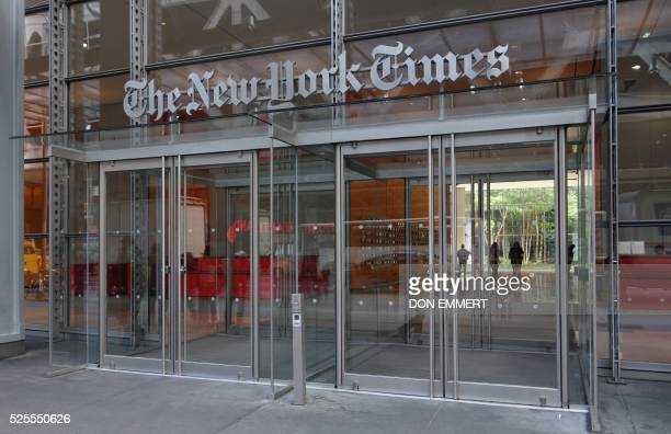 The west entrance of the New York Times building at 620 Eighth Ave April 28 2016 in New York / AFP / DON EMMERT